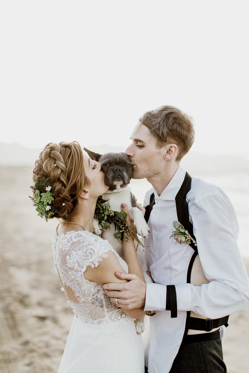 Beach wedding and dog